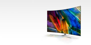 Learn more; Samsung QLED TV seen from angled right perspective