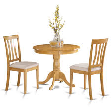Oak Small Kitchen Table Plus 2 Chairs 3 Piece Dining Set Modern