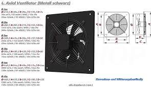 Mkk Axial Ventilator ø 200 Mm Schwarz Abluft Zuluft Rohrlüfter