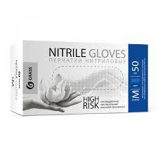 <b>Перчатки нитриловые High</b> Risk синие (короб 50шт) размер M ...