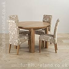 knightbridge 5ft 3 solid oak round extending dining table 4 beige patterned fabric dining chairs amazon co uk kitchen home