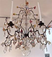 country 18th century five light french provincial chandelier with porcelain flowers for