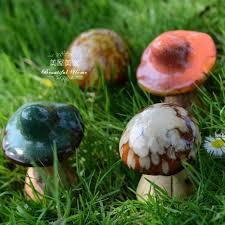 ceramic mushrooms for garden decor cute colorful ornaments jpg