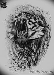 черно белый эскиз тату рисункок тигр 11032019 029 Tattoo Sketch