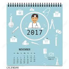 Template Monthly Calendar 2017 Calendar Planner With Medical Dental Background Design