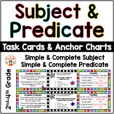 Common Core Anchor Charts Subject And Predicate Anchor Charts And Task Cards