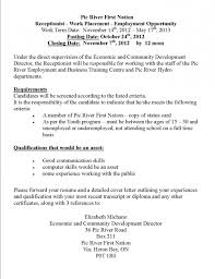 Sample Resume For Gym Receptionist Cover Letter For Branch resume sample