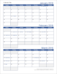 Download A Free Printable Quarterly Calendar Template For