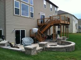 paver patio with deck. Fine Deck Second Story Deck Above A Paver Patio Wwwcreativeearthscapescom For Paver Patio With Deck 6