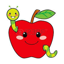 green and red apples clipart. cute green worm happy in love with sweet red apple vector and apples clipart