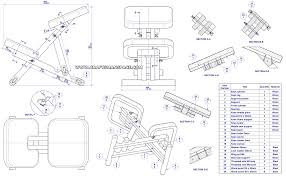 chair design drawing. Wooden Kneeling Chair - Assembly Drawing And Parts List Design
