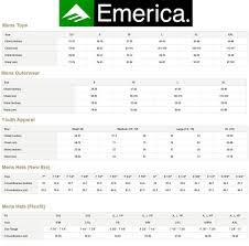 Emerica Size Chart Sizing Charts