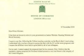 Standard Letter Dominic Raab Resignation Letter Brexit Secretarys Statement In