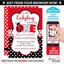 Ladybug Invitations Template Free Editable Ladybug Invitation Ladybug Birthday Invitation Ladybug Birthday Id Lbi_114