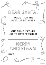List Coloring Page Free Sweeties Dear Printable Christmas Wish