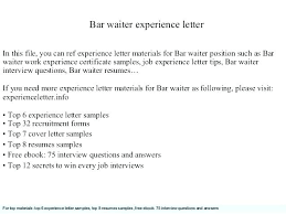 Sample Waitress Resumes Professional Waiter Resume Waiter Resume Sample Waitress Resume