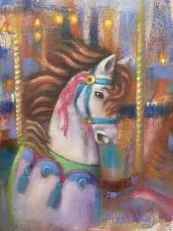 contemporary colorful equine horse fine art oil painting carousel horse ii by illinois artist marilyn weisberg contemporary colorful equine horse