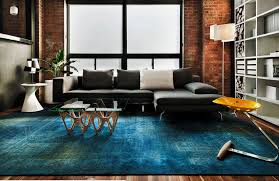 I View In Gallery Blue Overdyed Rug A Modern Living Room