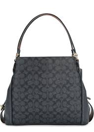Coach Edie grey monogrammed leather tote - Navy dnfq20