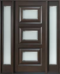 exterior wooden entry door using three panels combined with glass frosted plus side light with