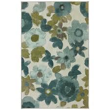 mohawk home wildflower aqua turquoise indoor area rug common 5 x 8