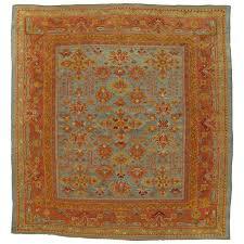oushak carpet oriental rug handmade rug turquoise saffron light blue