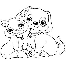 Small Picture Coloring Page Dogs And Cats Pages For Kids mosatt