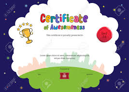 Certificate Of Awesomeness Template Kids Diploma Or Certificate Of Awesomeness Template With Cartoon