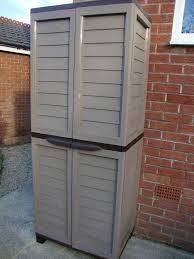 starplast 6ft plastic storage utility shed cabinet shelves garden garage tools