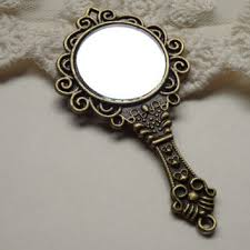 ornate hand mirror. 1 Large Carved Vintage Style Hand Mirror Pendant Filligre Antique Bronze  Finish Stamped Detailed Real Ornate Hand Mirror O