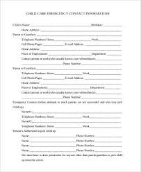 Emergency Contact Form Samples 8 Free Documents In Pdf