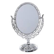 plastic silver vanity make up cosmetic table bathroom mirror on foot stand t1r2