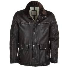 leather coat with detachable collar dark brown ryan t