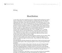 essay writing tips to blood brothers essay blood brothers reflection essay blood brothers