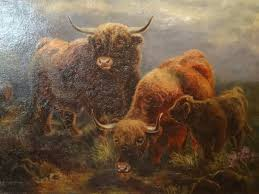 the scottish highland herd of cattle 19th century original oil painting by p