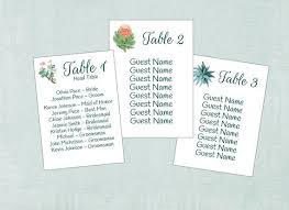 Succulent Seating Charts Table Seating Assignment Cards Seating Information Guest Seating Charts Wedding Table List S101