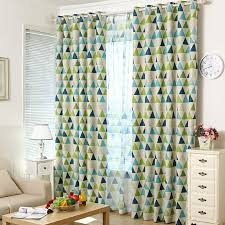 Geometric Pattern Curtains Enchanting Modern Brief Blackout Green And Blue Geometric Curtains