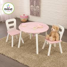Kidkraft Bedroom Furniture Kidkraft Round Storage Table And 2 Chairs Set White Pink