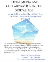 on november 9 erin glass evan misshula and boyda johnstone will host a roundtable discussion on the potential of open source data and social media