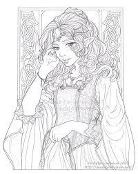 Elf Adult Coloring Source Deviantartcom Coloring Fairy