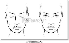 Free Art Print Of Young Woman Face Chart Makeup Artist Blank Template