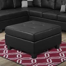 monarch specialties casual black faux leather square ottoman