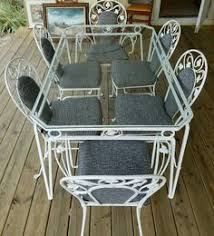white wrought iron garden furniture. Vintage Salterini White Wrought Iron Table And Chair Set Of 7 Garden Furniture L