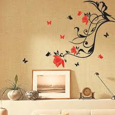 red flower black vine butterfly wall sticker art home decor removable wall paster house decorative wall paster wall decor stickers wall decor stickers cheap  on removable wall decor stickers with red flower black vine butterfly wall sticker art home decor