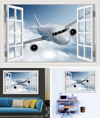 3d Samolepící Dekorace Na Zeď Okno Letadlo Boeing
