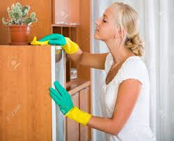 dusting furniture. Ordinary Young Woman In Rubber Gloves Dusting Furniture At Home Stock Photo - 48984699 Y