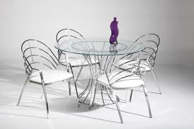 glass and metal furniture. Chair : A Stunning Metal Dining Room Furniture Sets Including Glass Top Round Table With Curvy Legs, White Chairs And Purple Bottle The Formal R