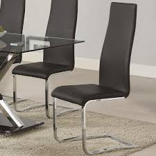 com coaster 100515blk dining chair black faux leather chrome legs set of 4 chairs