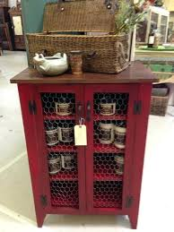 rustic storage cabinet with doors jelly cabinet in barn red with stained top and en wire