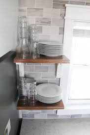 kitchen open shelving with wood shelves